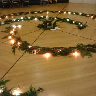 New Years Eve Cedar Branch Labyrinth Spiral
